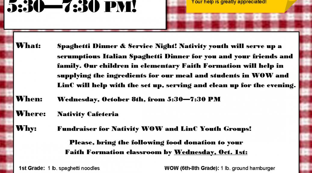Spaghetti Dinner 10.8.14