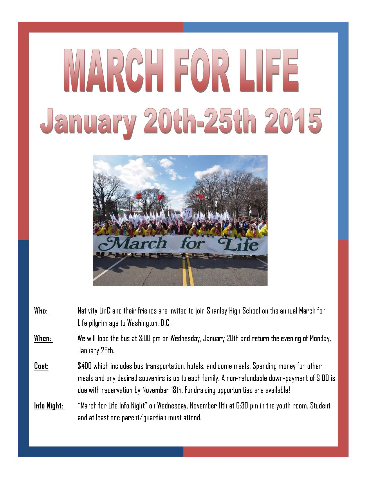 March for Life flyer